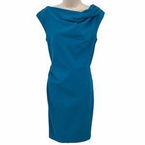Suzi Chin Blue Slouch Neck Dress 10